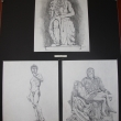Three classical statue sculpture study drawings