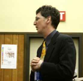 Dr. Timothy Killikelly informs Yuba College students about the issue of low voter turnout