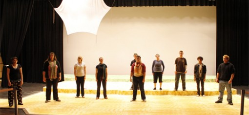 Cast members warming up their vocals before rehearsal. (Photo: Heather Meunier | The Prospector)