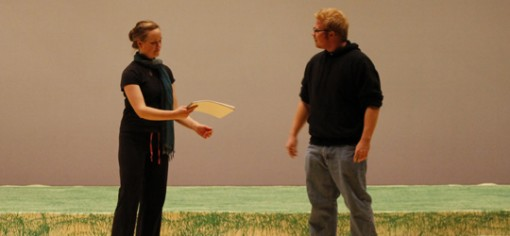 Brynne Capps and Brian Baggett rehearsing their lines. (Photo: Heather Meunier | The Prospector)