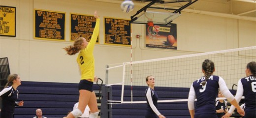 Libero Shaila Gidel spikes one back at the Southwestern Oregon defense during a game at Yuba College in Linda, California. | Photo by Alexis Pack