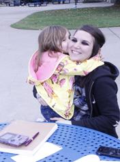 Rachel Silva-Rodocker on campus with her daughter   Photo by Heather Meunier
