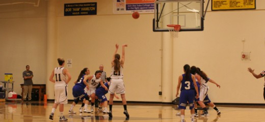 Natalya Stepanchuk attempts a free throw as her teammates and Solano defenders move in | Photo by Bob Barton