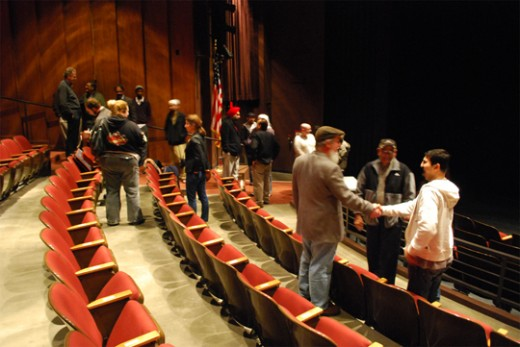 Members of the community and documentary mingling after the viewing | Photo by Robert Weaver