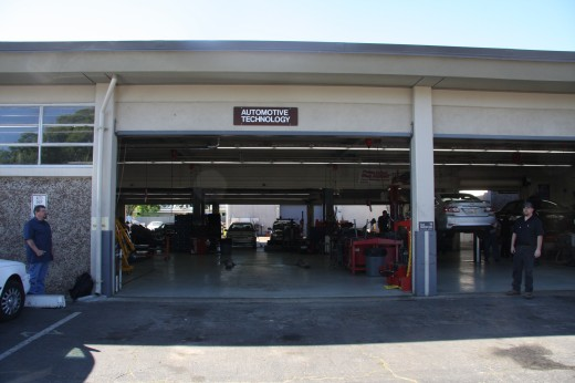 Automotive entry at the Yuba College garage