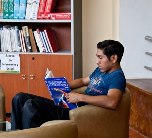 Student studying in library
