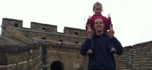 Professor Smith and his  daughter Maggie on the Great Wall.