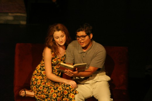 Lucentio, (José Pequeño) tutors the art of literature to the desirable and sweet Bianace (Laura Dunham), foil and sister to the shrew.