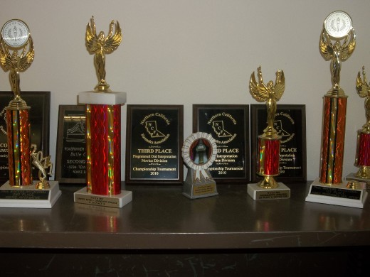Trophies earned from previous tournaments.