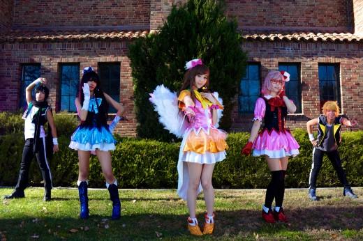 The IchiGoGo! Twins and Shiawase Cosplay posing as Hiroomi Nase, Akihito Kanbara, Mirai Kirayama and Ai Shindou from Kyoukai no Kanata