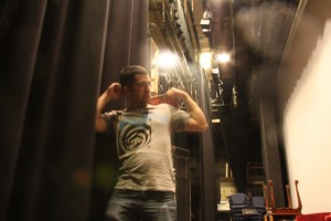 Nader (Tartuffe) and I experimenting with my camera speeds backstage.