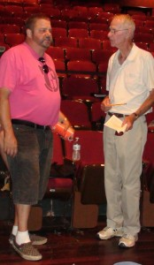 Director Geoffrey Wander giving Richard Foote (Orgon) some stage notes