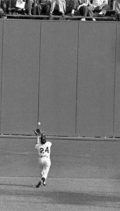 "Willie Mays and ""the catch,"" during the 1954 World Series."