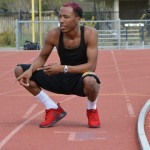 Jurrell Davis warming up on the Yuba College track.
