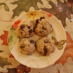 Plated vegan chocolate chip cookies