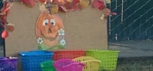 Festive bean bag toss featuring a jack o'lantern for a fall feel.