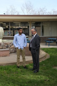 Student reporter Harnek Singh chats with Yuba College President G.H. Javaheripour.