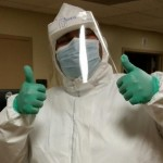 Nicolas wearing an Ebola suit during an Ebola training class.