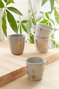 Simply decorated Pickle Pottery mugs handmade by Stephanie Adams