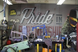 Mural in the Yuba College welding shop announces the department's pride.