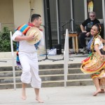 A traditional Mexican baile folklórico being performed at the on-campus Cinco de Mayo celebration.