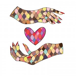 Multicolored mosaic hands with mosaic heart in between