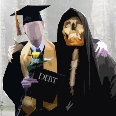 Manikin students hugging the grim reaper while holding a diploma that says debt