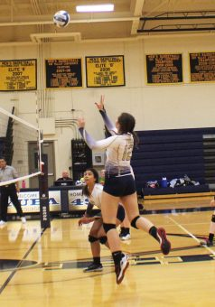 Heather Harness takes to the air for a kill against Alameda.