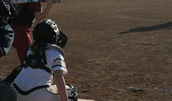 Backup catcher Abby Driver waits for the pitch.