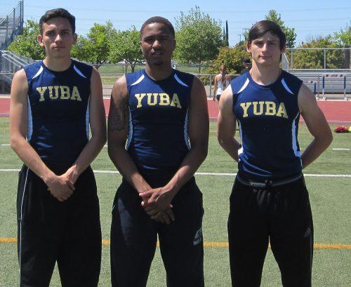 Micah Bernal, Malik Pruitt, and Jonathon Adams, three of Yuba College's sprinters.