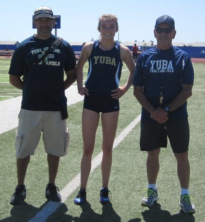 Athlete, coach, and trainer on the Yuba track