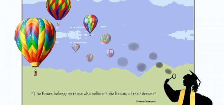 Mock up of mural Psychology Club is raising funds for. The picture shows a scene with hot air balloons.