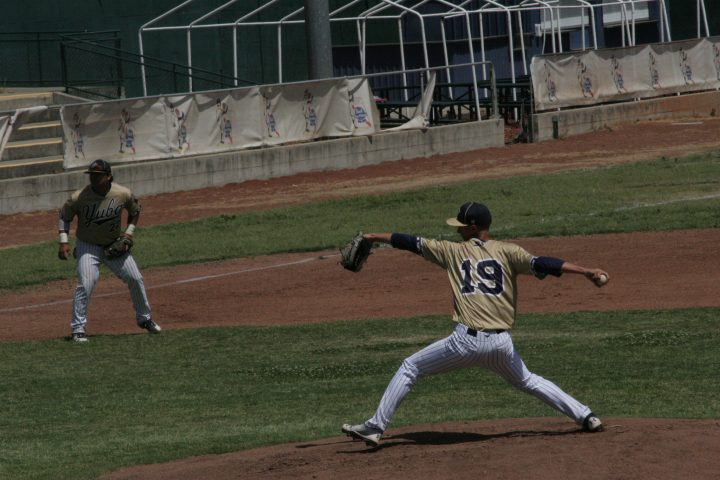Tyler Minton throws a pitch in his start against Mendocino.