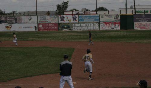 Mike Shoenberger runs the bases after hitting a three-run homer.